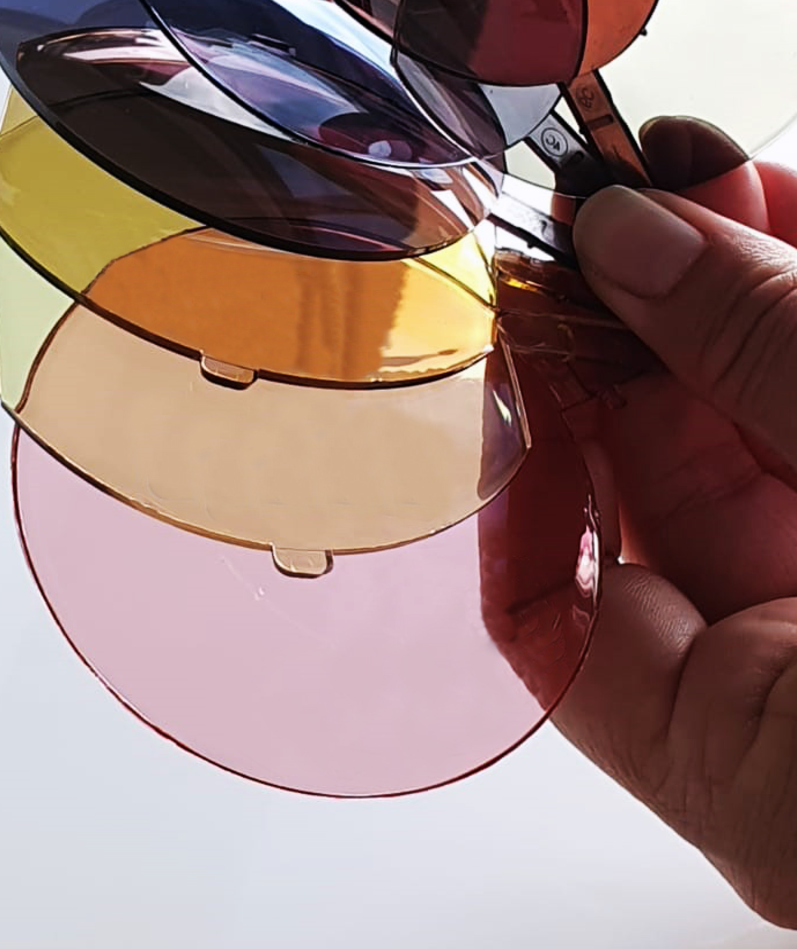 Sunglass lenses in different colours